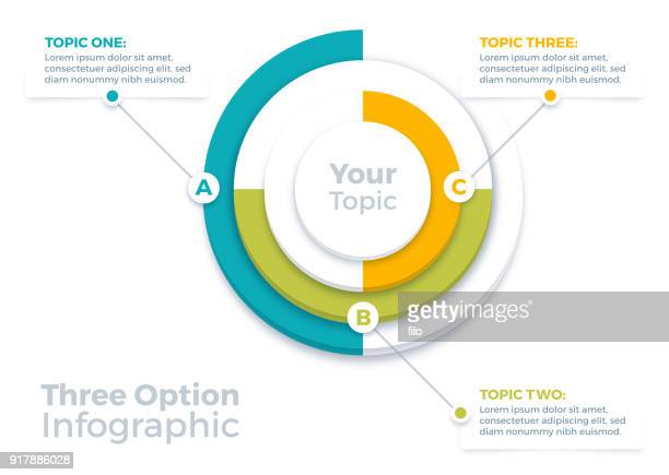 three options infographic pie chart - three objects stock illustrations