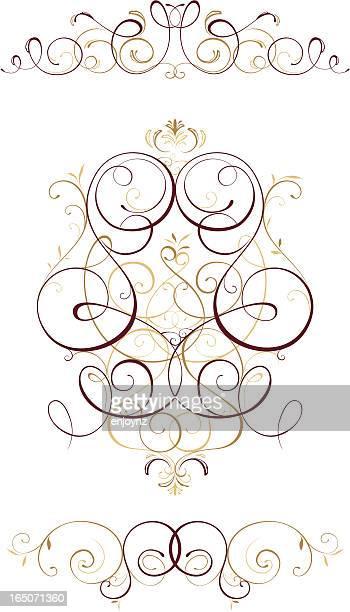 Three Ornate floral designs