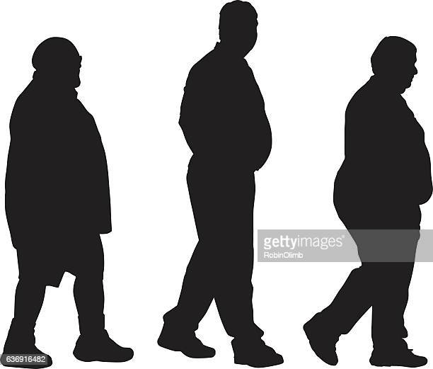three overweight men walking - heavy stock illustrations, clip art, cartoons, & icons