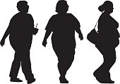 Three Overweight Women Walking Silhouettes