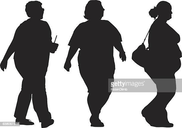 illustrations, cliparts, dessins animés et icônes de three overweight women walking silhouettes - femme grosse