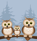Three owls on a branch.