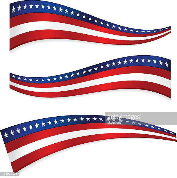 Three Patriotic Ribbons, Banners - Red, White, Blue, Stars