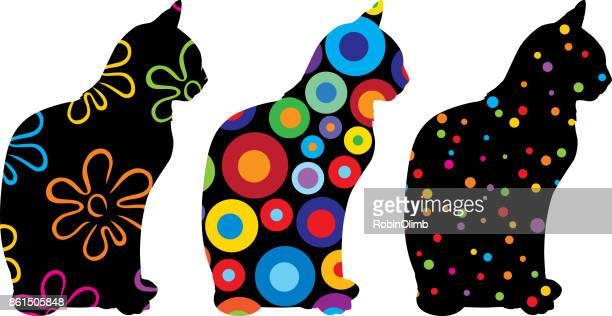 illustrations, cliparts, dessins animés et icônes de trois motifs chats 3 - chat profil