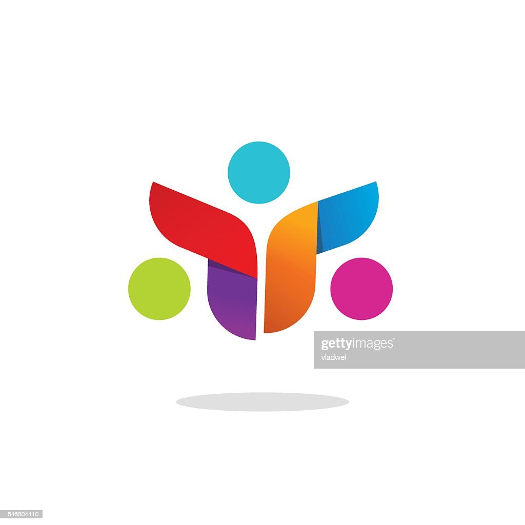 Three people community logo abstract vector symbol, conference logotype