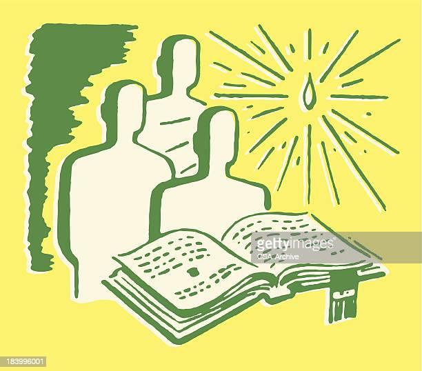 ilustraciones, imágenes clip art, dibujos animados e iconos de stock de tres personas en el frente de la biblia a la luz de las velas - personas leyendo la biblia