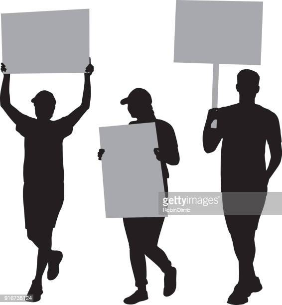 three people protesting silhouettes - holding stock illustrations, clip art, cartoons, & icons