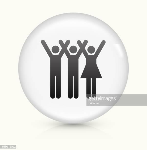 3 人の手を上げるのアイコンホワイト丸いベクトルボタン
