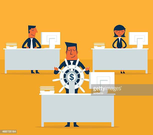 Three people sitting at desks with one holding a money wheel