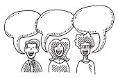 Three People Speech Bubbles Communication Drawing