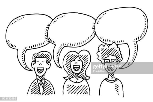 three people speech bubbles communication drawing - three people stock illustrations