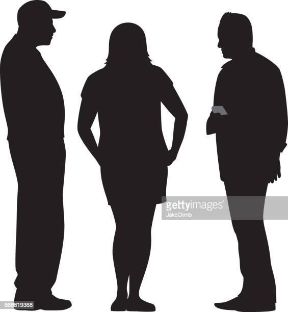 Three People Talking Silhouette