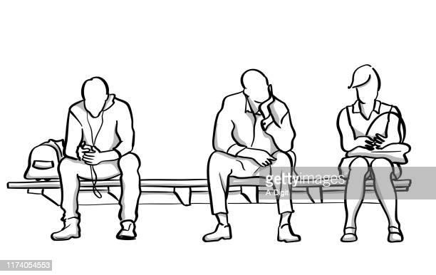 illustrations, cliparts, dessins animés et icônes de trois personnes en attente de métro - assis