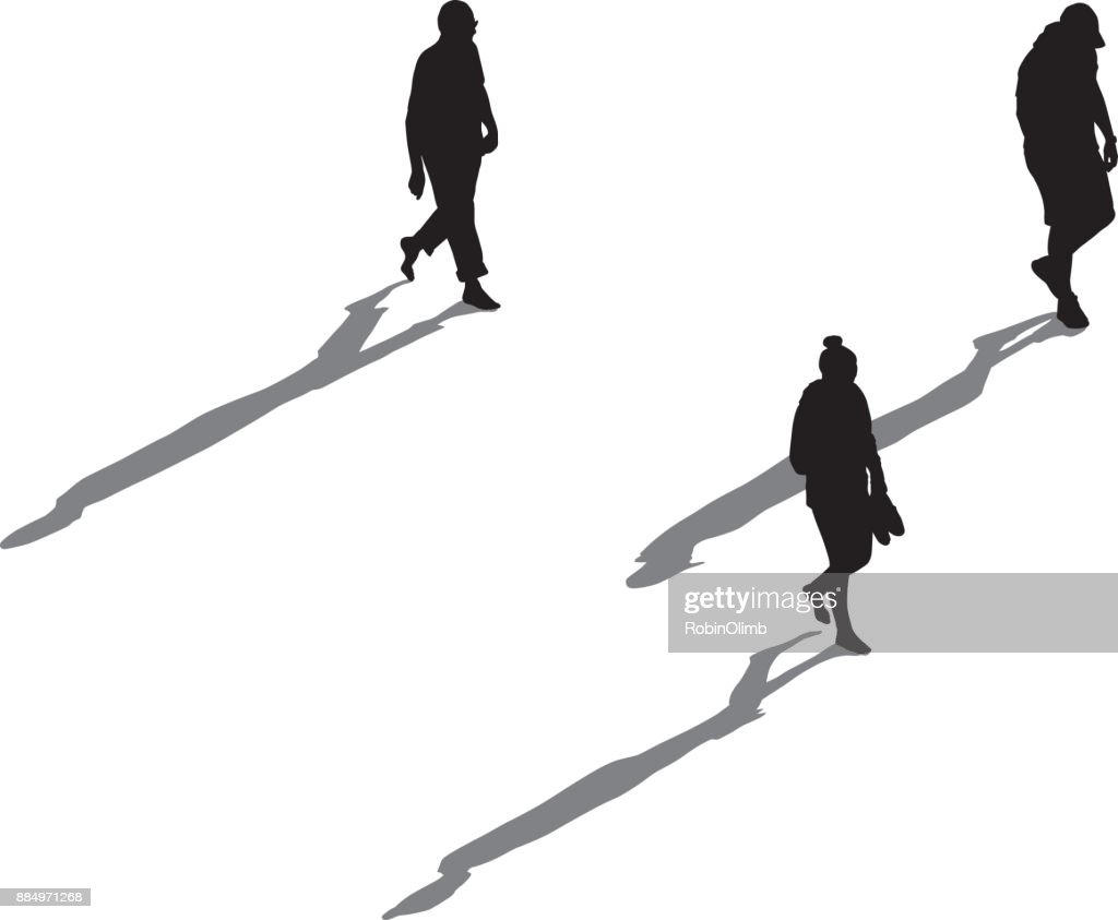 Three People Walking With Long Shadows : stock illustration