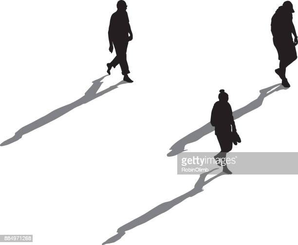 three people walking with long shadows - three people stock illustrations