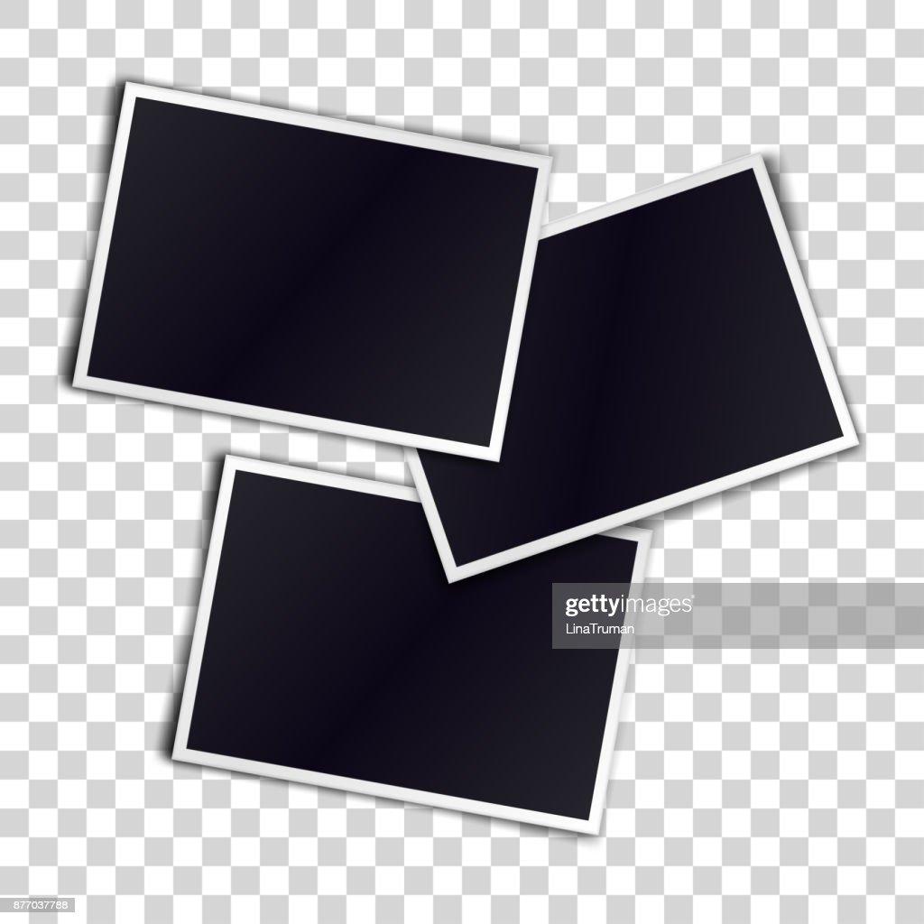 Three photorealistic blank retro photo frames over transparent background. Vector illustration.