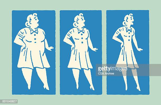 three photos of a woman's weight loss - slim stock illustrations, clip art, cartoons, & icons