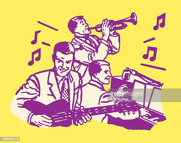 illustrations, cliparts, dessins animés et icônes de trois musiciens - jazz