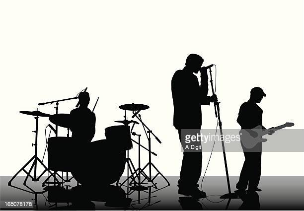 three piece band vector silhouette - snare drum stock illustrations, clip art, cartoons, & icons