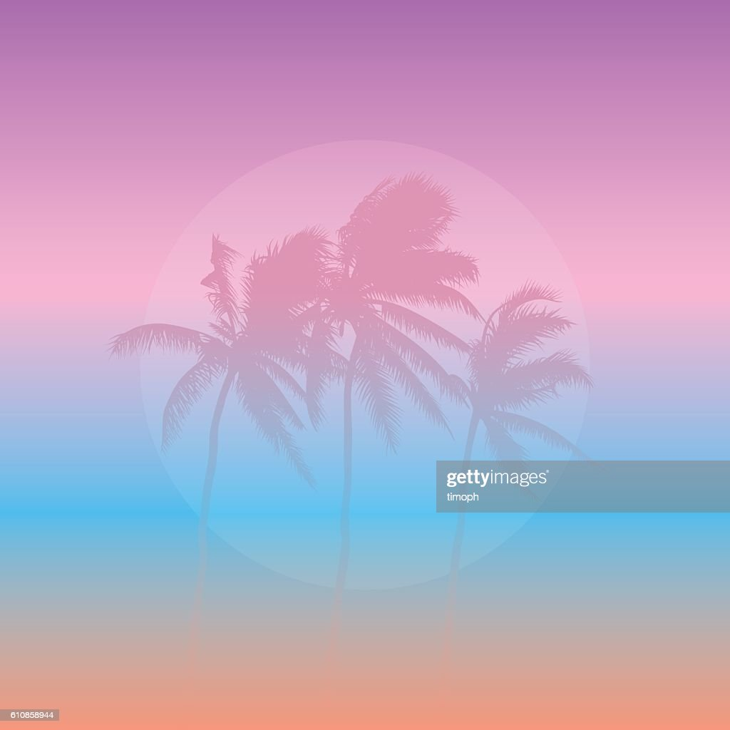 Three pink palm trees : stock vector
