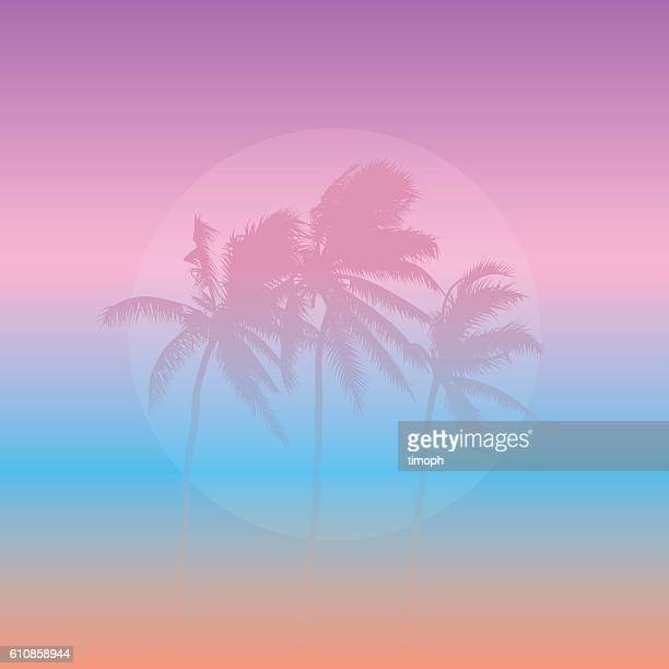 Three pink palm trees