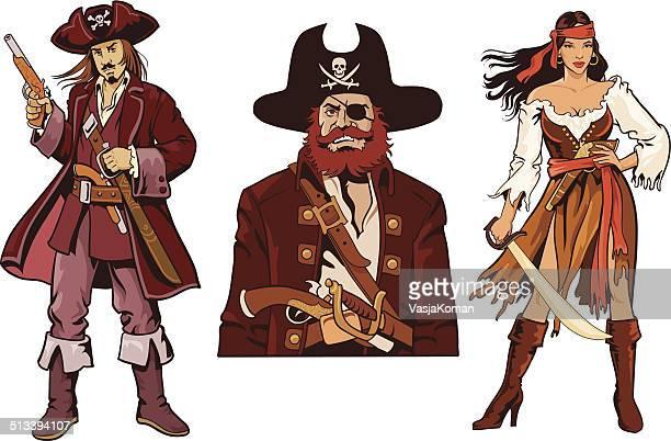 ilustrações de stock, clip art, desenhos animados e ícones de três piratas caracteres-avatares - de corpo inteiro