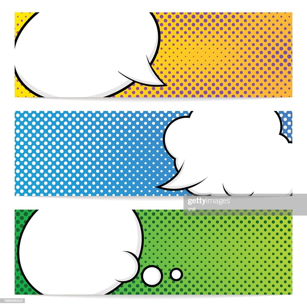 Three pop art banners template