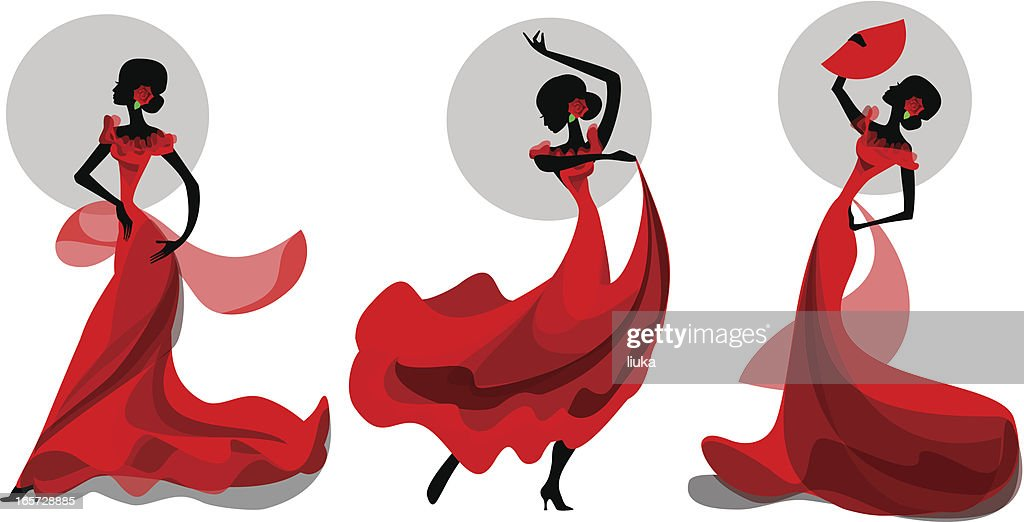 Three poses of flamenco dancer
