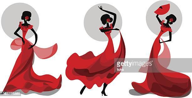 three poses of flamenco dancer - spanish dancer stock illustrations, clip art, cartoons, & icons