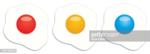 ilustraciones, imágenes clip art, dibujos animados e iconos de stock de tres huevos de fritos de color primario - huevo comida básica