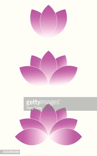 Three Purple Lotus Flower Drawings Stock Illustration Getty Images