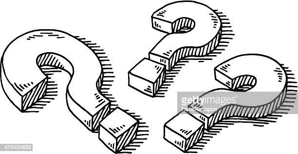 three question marks drawing - asking stock illustrations