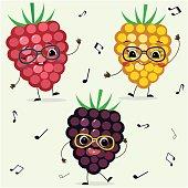 Three  raspberries  Smiley in cartoonish power.