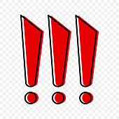 Three red exclamation marks in cartoon style. Vector illustration on a transparent background.