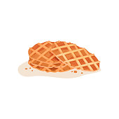 Three round-shaped crispy waffles with crumbs. Delicious snack. Flat vector element for cooking school promo or cafe menu
