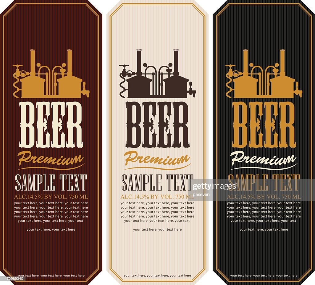 Three sample beer label templates