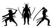 three samurai stance silhouette a white background