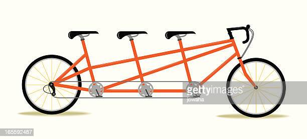 three seat bicycle - three people stock illustrations