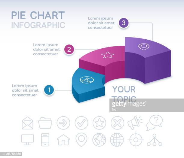 three section 3d infographic pie chart - three objects stock illustrations