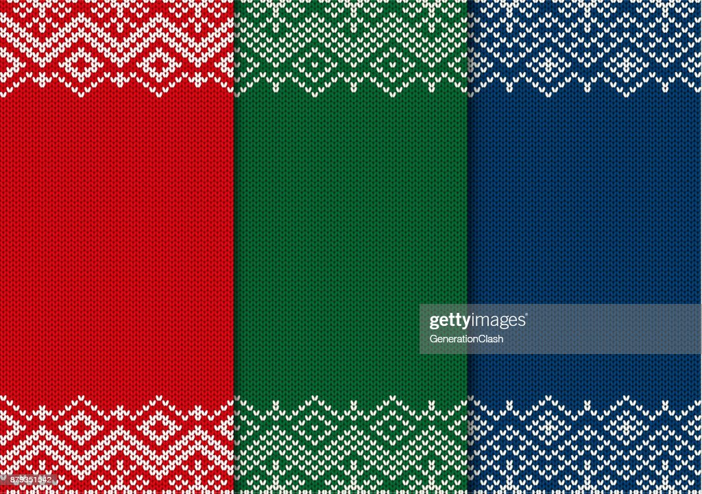 Three Semless Knitted Christmas Ornaments Red Green And Blue ...