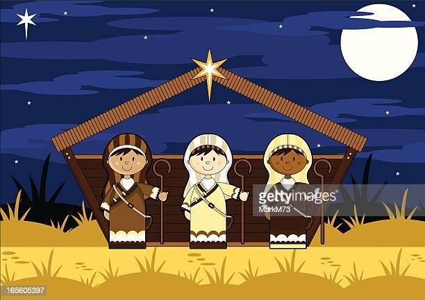 Three Shepherd Characters in Barn
