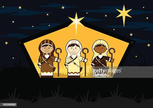 Three Shepherds in Nativity Barn