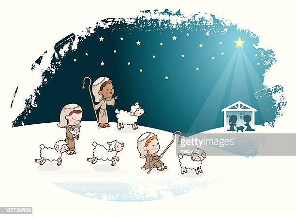 three shepherds kids nativity scene - jesus stock illustrations, clip art, cartoons, & icons