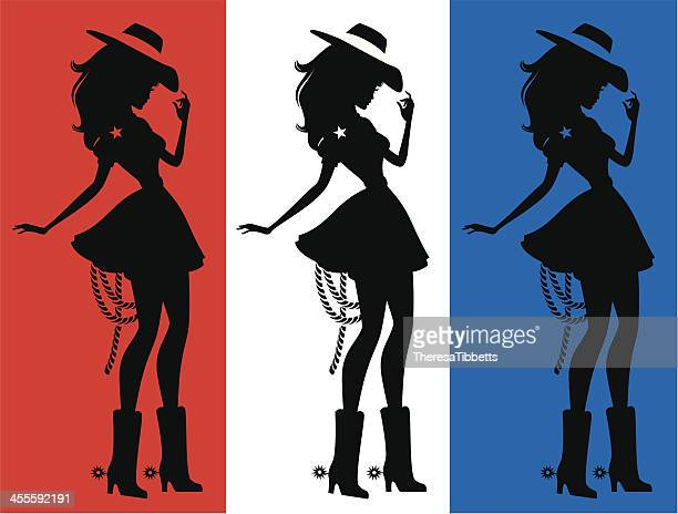 Three silhouettes of a cute cowgirl
