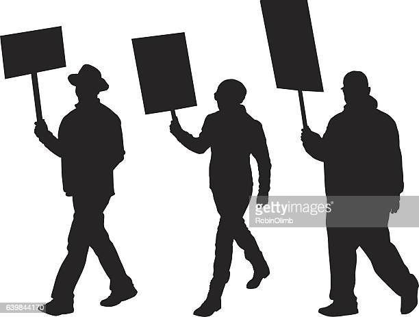 Three Silhouettes Of Protesters Marching