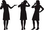 Three silhouettes of woman talking on cell phone