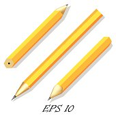 Three simple stationery pencil in different angles.