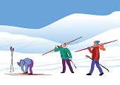 Three skiers go to snow hills for skiing