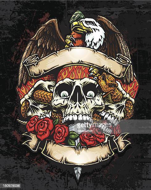 Trois bannières avec aigle et de mort