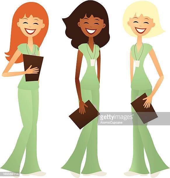 ilustraciones, imágenes clip art, dibujos animados e iconos de stock de tres sonriendo enfermeras en un estilo retro - asistente de enfermera
